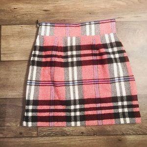 Topshop Plaid High Waist Mini Skirt